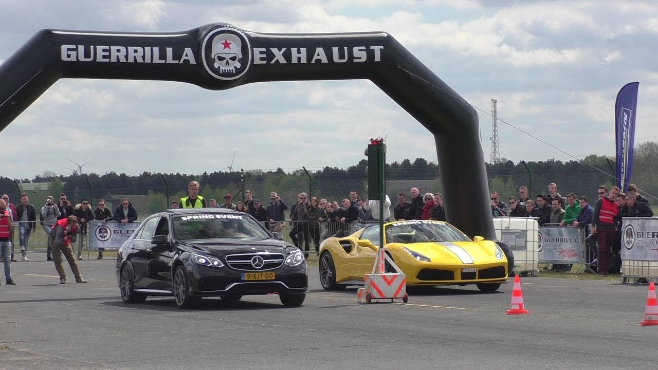 DRAGRACE | BRABUS Mercedes-Benz E63 AMG S 4Matic V8 Biturbo vs. Ferrari 488 vs. Audi RS3