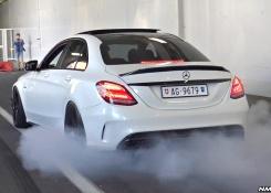 INSANE LOUD Mercedes C63 S AMG Doing Burnouts & Revs!!