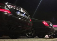 W221 S500 BRABUS VS S63 AMG Mufflers Exhaust Sound Battle
