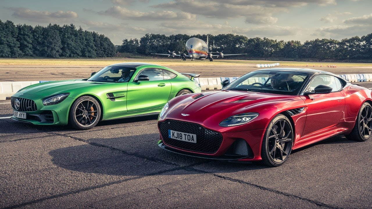 Aston Martin DBS Superleggera vs Mercedes-AMG GT R - Drag Races in Top Gear