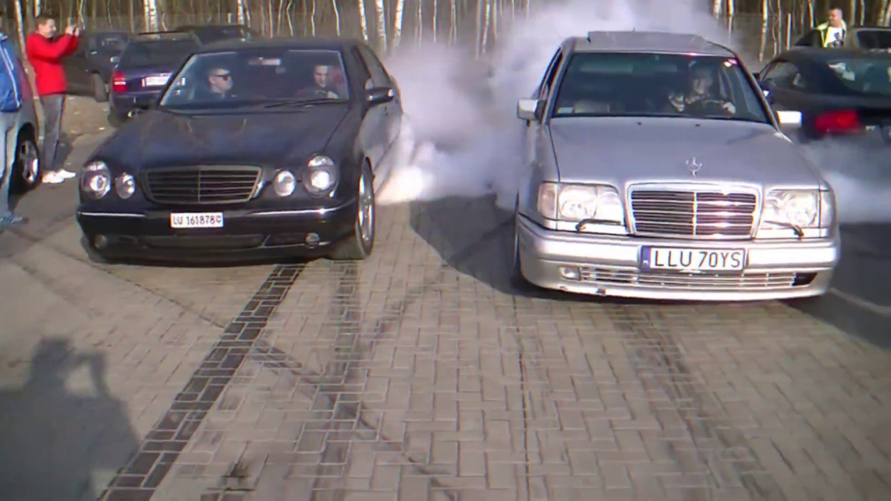 Mercedes-Benz W210 Compilation - Burnouts, Donuts, Drifts, V8 Exhaust Sounds