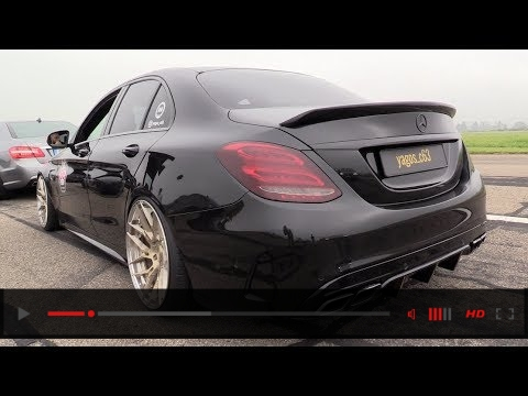 580HP BLACK Mercedes-AMG C63s - REVS & DRAG RACING!