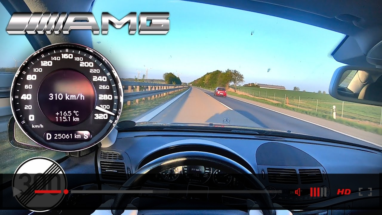 310 kmh !! | Mercedes E63 AMG W211 NO LIMIT TOP SPEED AUTOBAHN POV