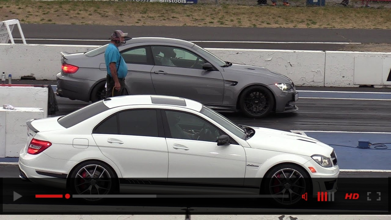BMW M3 V8 vs AMG C63 Mercedes - drag race
