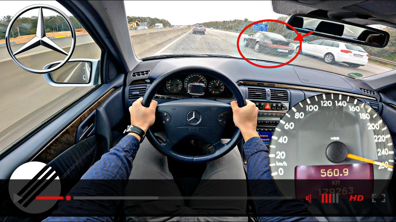 Mercedes-Benz E-Class E430 W210 Lorinser TOP SPEED DRIVE ON GERMAN AUTOBAHN