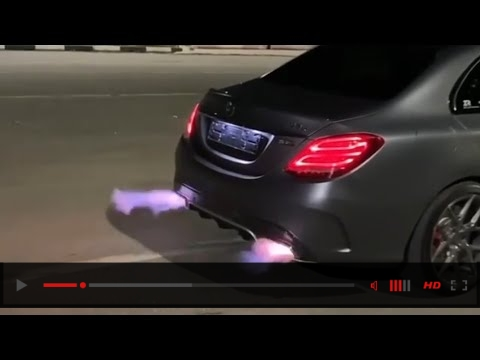 Mercedes C63s Amg stage 3 - Loudest Exhaust sound flames