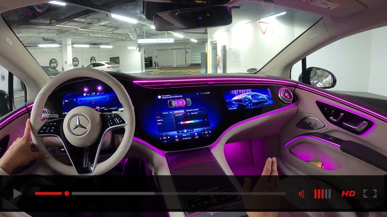 2022 Mercedes EQS NIGHT DRIVE! EQS 580 Interior Ambiente Exterior Review