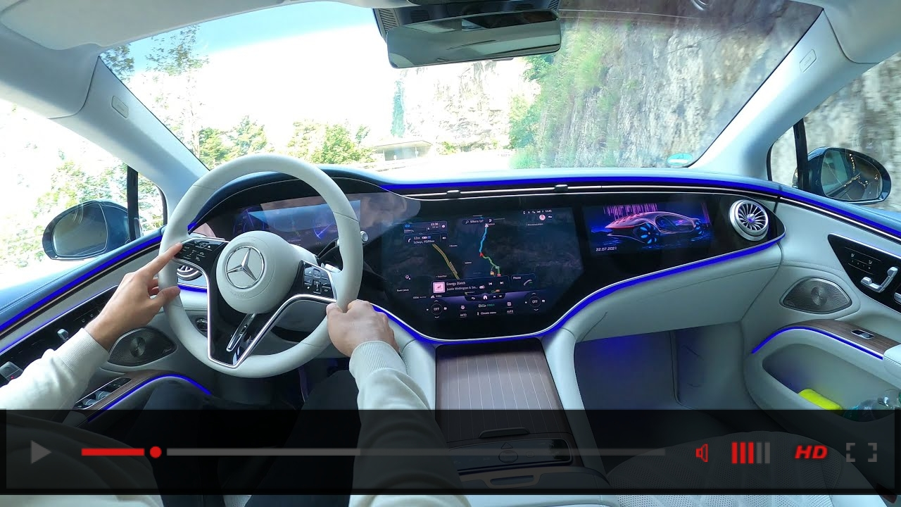 FIRST 2022 Mercedes EQS POV DRIVE! New EQS Hyperscreen Interior Ambiente Light EQS580